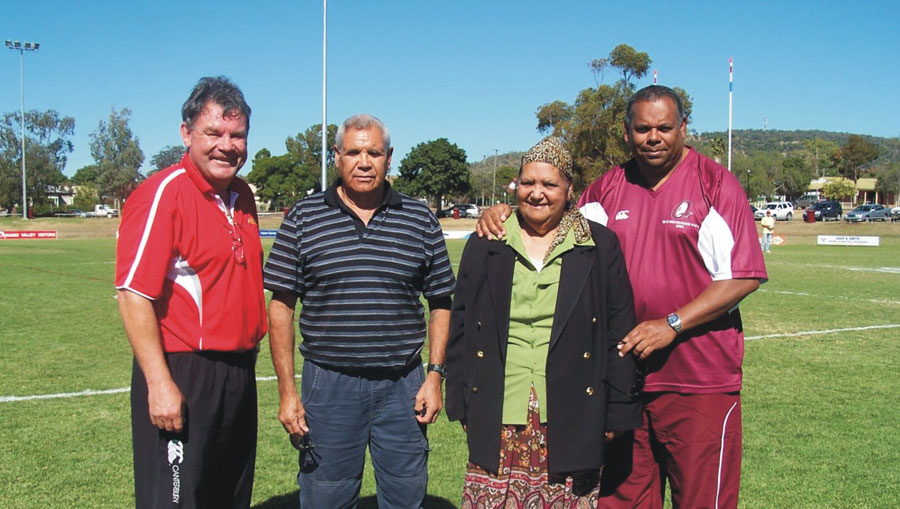 Frank & Dianne with Australian rugby league legends Graham Eadie & Larry Corowa